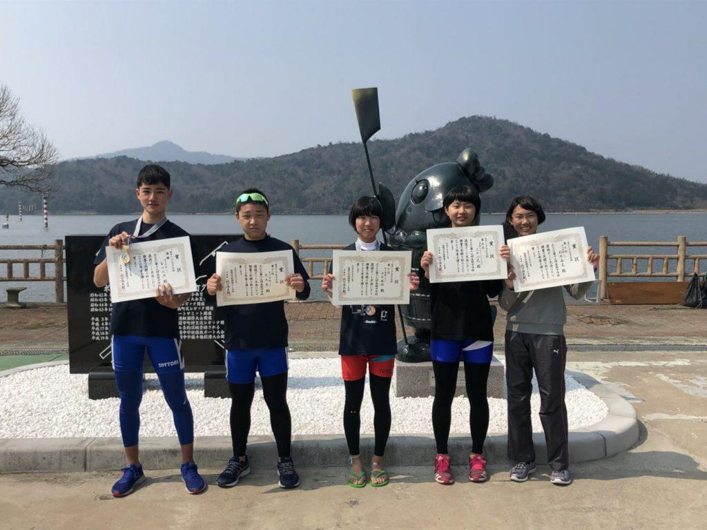 全国中学校選抜ボート大会で入賞した鳥取県勢